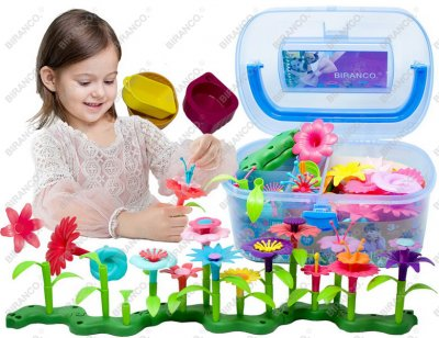 Flower Garden Building Toys - Build a Bouquet Floral Arrangement Playset for Toddlers and Kids Age 3, 4, 5, 6 Year Old Girls Pretend Gardening Gifts (120 PCS)