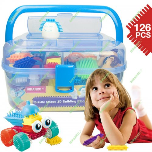 Bristle Shape Building Blocks - STEM Learning Toys Gifts for Toddlers and Kids Age 3, 4, 5, 6 Year Old Girls & Boys Creativity DIY Set (126 PCS)