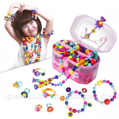 Girls Pop Beads Set - Creative DIY Jewelry Making Kit for Kids (520pcs)