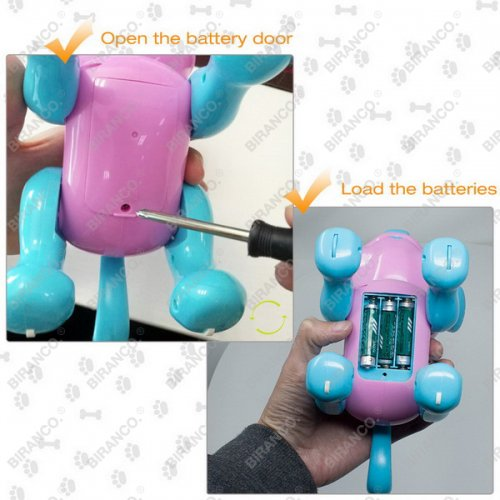 Electronic Tiny Dog Pets Toy - Interactive Puppy with Lights, Sounds and Sensors (Pink)
