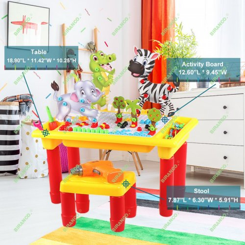 Learning & Activity Block Table - Drill Set with Storage, Plus 1 Toddler Chair STEM Toys, Ages 3 and up